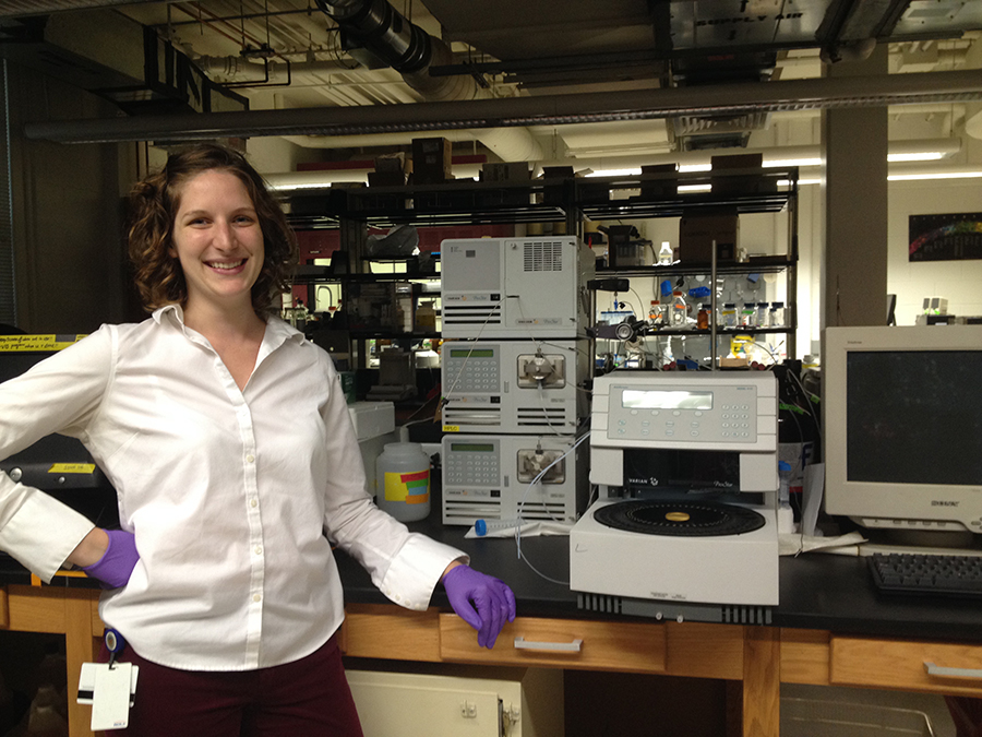 Erin Gallagher at the HPLC.