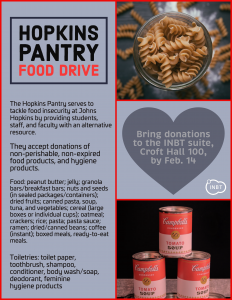 Hopkins Pantry Food Drive @ INBT Suite Croft Hall 100